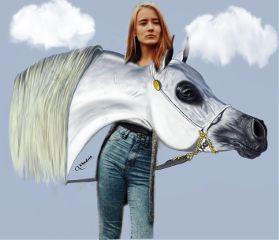 freetoedit girl horse nature picsart