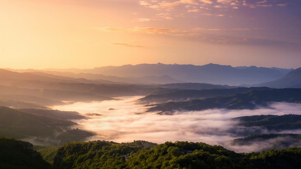 Sunrise over Epirus Mountains.   #photography #nature #spring  #sunrise  #epirus  #mountains #greece #clouds