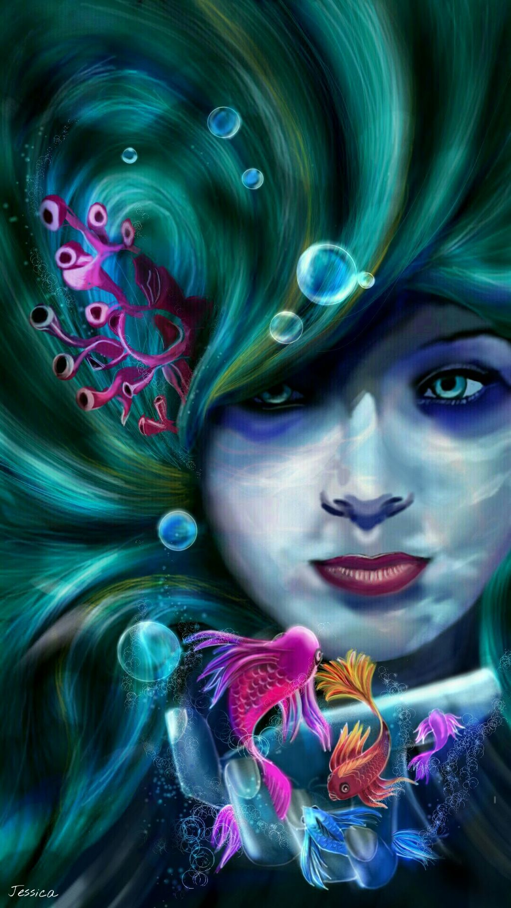#wdpshowmethesea my concept painting right out of my imagination for this contest, no web reference used, painted using PicsArt drawing tools...an exhausting effort of 14 hours..How would you feel if you encounter an underwater sea beauty!!! if you like it repost it my friends! #draw #drawing #painting #mypainting