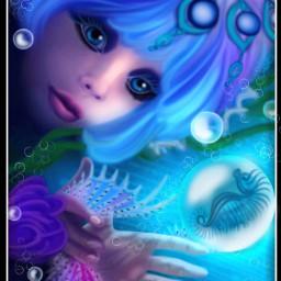 wdpshowmethesea drawing mydrawing art bubbles seahorse mermaid