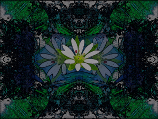 abstract mirror comic blues greens