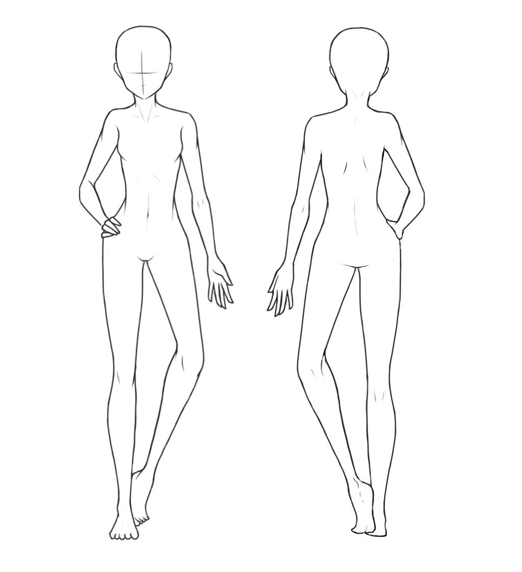 front and back view of a base used for drawing outfits
