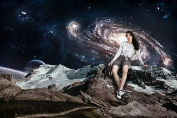 space universe lady mountains snow