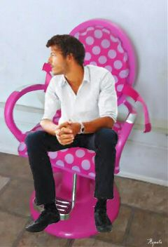 chair pink pock freetoedit people