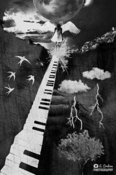 angel cloud surreal wings piano