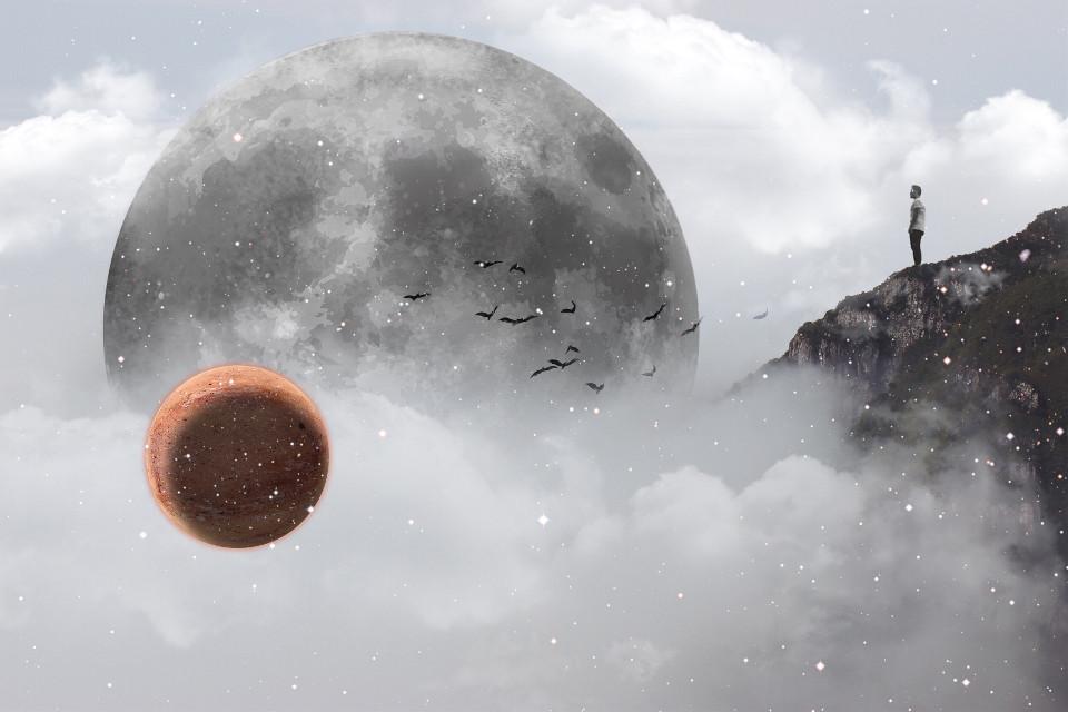Dreamscape  #surreal #moon #cloulds #mist #clipart #edited