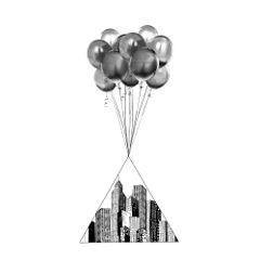 sunnyhopper balloon blackandwhite art popart