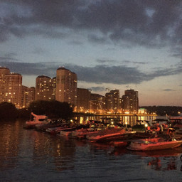 moscow yachts yachting evening lights