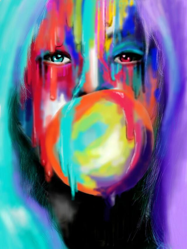 Harley Quinn.  #wdpgrimeart  #colorful #colorsplash #popart #art #painting #portrait #movies